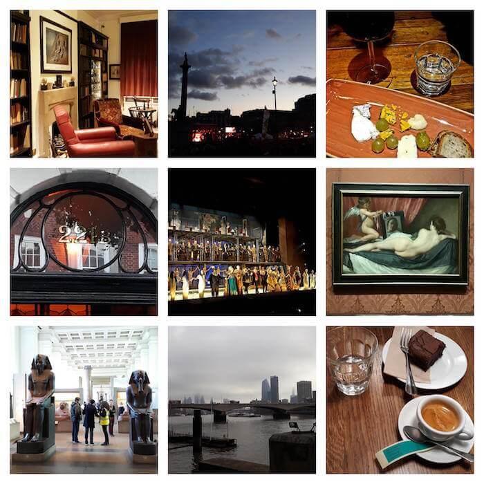 Collage di cose fatte a Londra nel febbraio 2019